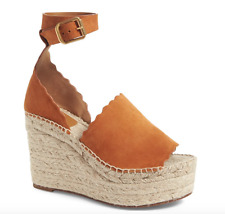 NEW $660 CHLOE LAUREN WEDGE ESPADRILLE BROWN OCHRE SUEDE SANDAL 37