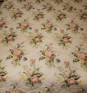 Laura Ashley Cottage Rose Shabby Chic Queen Comforter White Pink Reversible VTG