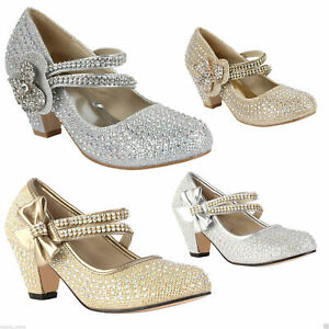 GIRLS CHILDRENS KIDS HIGH MID HEEL DIAMANTE PARTY SHOES BRIDESMAID SANDALS SIZE