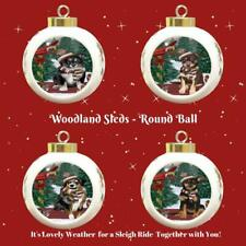 Woodland Sled Dog Cat Pet Lovers Round Ball Christmas Tree Ornament Gift items