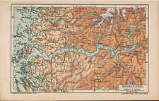 Mapa Map 1904: Sognefjord. distrito de Sogn fylke Sogn noruega Norge fjord