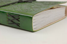 Lederbuch / Tagebuch / Notizbuch, Motiv Blättergesicht, grün, 0122b