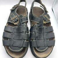 Dr Doc Martens Fisherman Sandals Mens US Size 12 Brown Leather Martins Logo