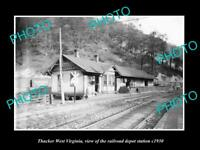 OLD LARGE HISTORIC PHOTO OF THACKER WEST VIRGINIA, THE RAILROAD STATION c1930