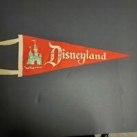 "Disneyland Pennant Walt Disney Productions Red Flag Banner 1960's Vtg 24"" Large"