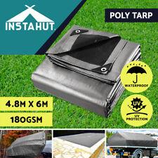 Instahut Tarpaulin Tarp 4.8x6m Camping Tarps Poly Heavy Duty Cover 180gsm