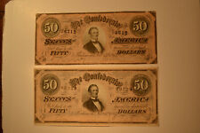 Pair of Nice Grade Confederate $50 Notes- T-66