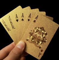 2 × 24K Gold Plastic Waterproof Cards Golden Playing Cards Deck gold foil poker