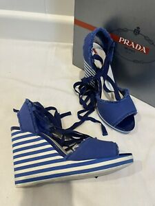 Prada Blue Canvas Stripe Ankle Tie Wedge Sandals 37.5