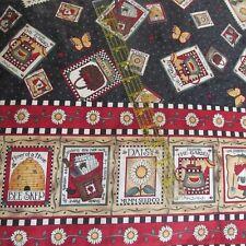 Debbie Mumm double border cotton fabric Seed Packet Garden black 28x44