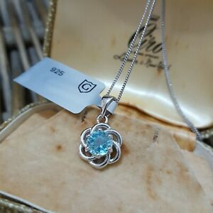 Natural Blue Zircon Sterling Silver Necklace Pendant, Gemporia, 18 Inches Chain