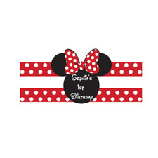 Personalised Customised Disney Mini Mouse Water Bottle Labels Birthday Party