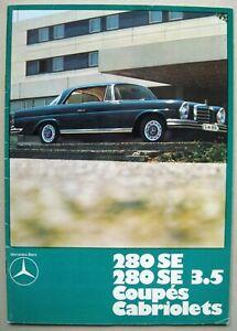 Prospekt Mercedes 280 SE & 3.5 W111 Coupe Cabriolet Flachkühler MJ 1969 1970 D