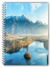 NEW A5 NATURE LAKE TREES NOTEBOOK STANDARD /50 LINED BLANK PAGES NOTE PAD 01
