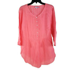 Calypso St Barth Top XL Pink Coral 100% Linen Long Sleeve Button Up Tunic Blouse