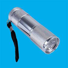 9 LED Emergency White Light Camping Travel Silver Torch Flash light Wrist Strap