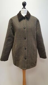 WOMENS BARBOUR GREEN CHECK SNAP FASTEN TAILORED TWEED JACKET UK 14