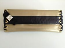 Ladies Gold Patent Leather Clutch Bag by Beverly Feldman Europa Collection Used