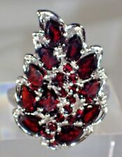 NATURAL REDDISH MOZAMBIQUE GARNET RING, SZ 8.25, 925 SILVER 14K GOLD PLATE  #217