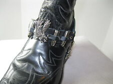 Leather Boot Chains/Straps #521 Black w Eagle & Bullets - Pair - Cowboy, Western