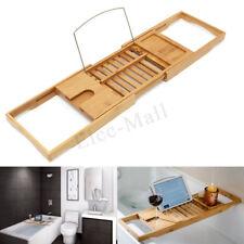 Extendable Bamboo Bath Caddy / Adjustable Luxury Bath Tub Rack Tray Shelf / Gift