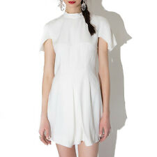 Women White Round Collar Flounce Hem Bodycon Casual Party Short Mini Dress S