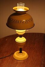 """Vintage Yellow Metal Tin Tole Ware Table Lamp w/ Matching Shade - 18"""" High"""