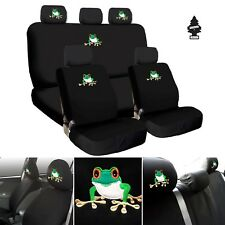 New Frog Embroidery Logo Car Seat Covers Headrest Full Set For Nissan