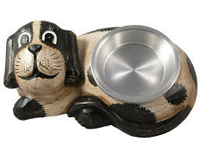 "Gorgeous Hand-carved Wooden Dog food/drink bowl holder with Bowl 14"" Length"