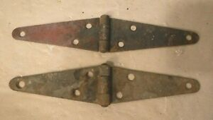"""Two Antique Vintage Old Small Rusty Strap Hinges Barn Door Shed 8-3/16"""" Long"""