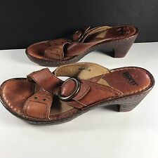 Born Slip On Brown Leather Chunky Heel Slides Mules Sandals WOMENS 11 M