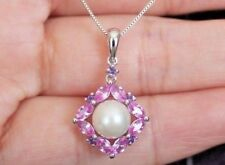 "NEW 10k Pearl Halo Pink Sapphire & Amethyst pendant Necklace 18"" Box White Gold"