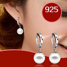 Charm Ladies Women Silver Plated Freshwater Peal Dangle Drop Ear stud Earrings