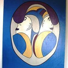 VINTAGE OIL CANVAS PICASSO STYLE ABSTRACT PAINTING FACE II ARTIST SIGNED CARY
