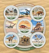 Guinea Bissau 2016 dinosauri animali preistorici forma rotonda dispari S/S GB16609