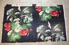 tissu french textile ameublement satin non soie imprimé bouquet fleur noir