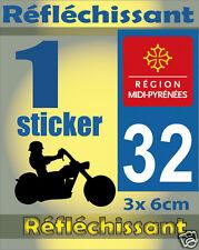 1 Sticker REFLECHISSANT département 32 rétro-réfléchissant immatriculation MOTO