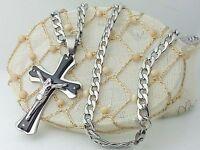 Collar Colgante De La Cruz Crucifijo con cristo Plata Unisex I Gioielli di Vicky