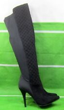 """new Black 4.5""""Stiletto High Heel Pointy Toe Sexy Stretch/quilt Knee Boots Size 7"""