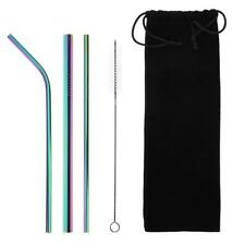 5pcs Reusable Stainless Steel Drinking Straws with Cleaning Brush (Colorful A#S