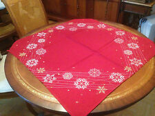 NAPPE A THE CENTRE DE TABLE SUR NAPPE BRODEE  NOEL