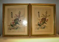 """Vtg Pair of Silk Embroidery Pictures Peacocks Asian/Oriental Gold Framed 16x13"""""""