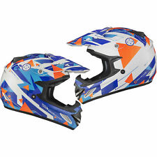 Shox Mx-1 Delta Motocross ATV Quad off Road MX Pit Bike Moto-x Enduro Helmet Blue Orange XL