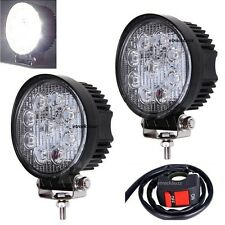 27W LED Work/Flood Fog Light Off Road With Switch For Harley Davidson Bikes
