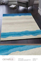 ORIGINS PURE NEW WOOL OLYMPUS WAVE RUG BLUE/CREAM 4 SIZES AVAILABLE.