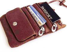 Brown Genuine Leather Travel Bag Passport ID Holder String Purse Lanyard