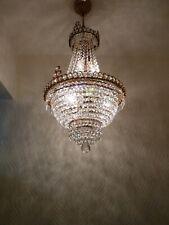 Vintage Brass and Crystal Old Basket Chandelier * Nice Lamp *