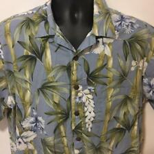 Hilo Hattie Vtg  Hawaiian Aloha Friday Camp Shirt XL Bamboo Tropical Motif Blue