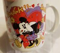 Rare Vintage Disney Coffee Tea Mug Cup Mickey Minnie Mouse Smack Valentines Day