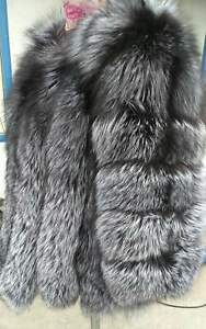 100% Real Silver Fur Coat Jacket Women Fur Outerwear Clothing Beautiful Fur Coat